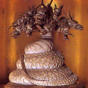 Nine headed dragon statue kept at Togakushi Shrine