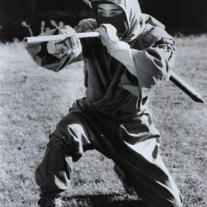Actor Sho Kosugi making use of the blowgun blowgun in Ninja III - The Domination