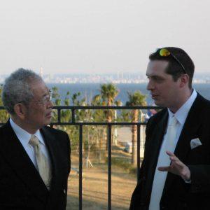 Sean Askew discussing ninjutsu with Grandmaster Masaaki Hatsumi
