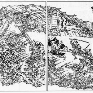 Nobunaga forces setting fire to Enryaku-ji and massacring the monks in the Siege of Mount Hie 1571 (Depiction in the Ehon taikouki)