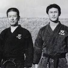Old picture of Shinden Fudo Ryu Grandmasters Hatsumi Masaaki Sensei (L)- and Nagato Toshiro Sensei (R)