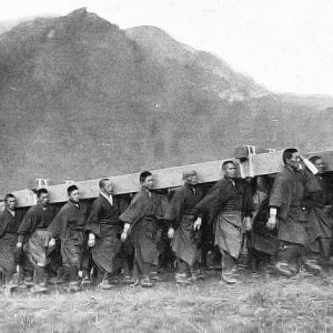 Yasedoji in training for the transport of the Sokaren that carries the emperor's coffin