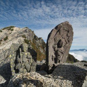 Buddhist statues on the peak of Komagaoka Mountain