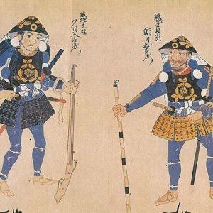 Old drawing depicting ashigaru warriors