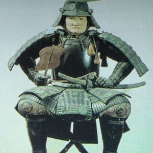Old statue of Date Masamune in his armor