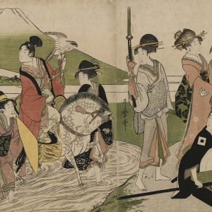 Samurai on a falconry hunt with several ladies