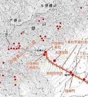 Map of the caves around Togakushi - Red dots
